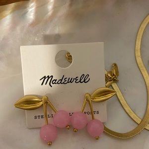 Madewell pink cherry earrings